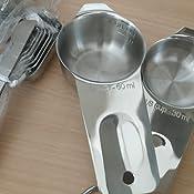 Cestor 5er Set Edelstahl Messbecher und L/öffel Messbecher Set,Heavy Duty Edelstahl,gravierte Ma/ße f/ür fl/üssige und trockene Zutaten zum Kochen Backen