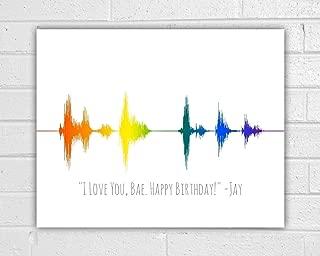 Custom Rainbow Sound Wave Art Unframed Print - Gay Pride - Gay Wedding Gift - Gay Couple - Lesbian Art - Lesbian Wedding Gift - Lesbian Girlfriend