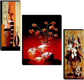 SAF Set of 3 Preety flower pot wall painting home décor items paintings for living room with frame wall décor painting 12 ...