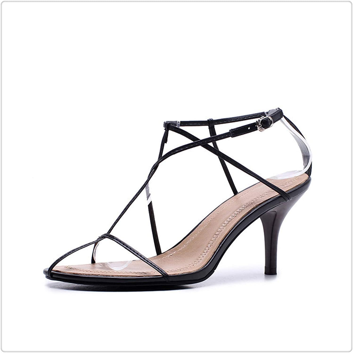 Round Toe Buckle Strap Hollow Out Simple ThinHigh Heels Sandals Women Fashion