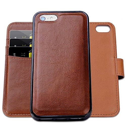 SHANSHUI Wallet Case Compatible with iPhone SE, 5 and 5S, Magnetic Detachable 2-in-1 PU Leather Wallet Case with 3 RFID Card Holders 1 Cash Pocket with Slim Back Cover (Brown)