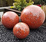 garten-wohnambiente Dekokugel 3er Set 15-10-10 cm Edelstahl rot Kugel Dekorationskugel