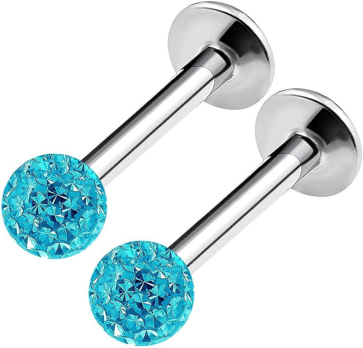 BanaVega 2PCS Stainless Steel Labret Lip Rings 16 Gauge 5/16 8mm 3mm Crystal Ball Rim Earrings Auricle Piercing Jewelry Choose Colors
