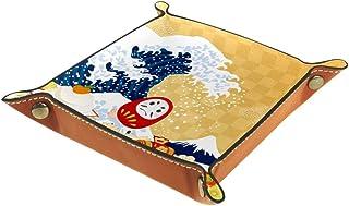 BestIdeas Panier de rangement carré 16 × 16 cm, avec éléments du Nouvel An japonais, boîte de rangement sur table pour la ...