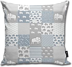 Elephant Baby Cheater Quilt - Cute Baby Nursery Crib Sheet, Baby Blanket - Blue and Grey_3002 Cotton Home Decorative Throw...