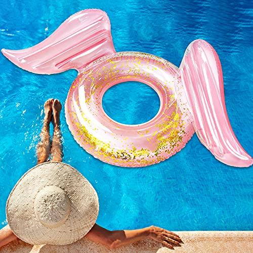 Faffooz Anello di Nuoto Gonfiabile Swim Ring per Bambini e Adulti Durable Anello Piscina Galleggiante Anello di Nuoto con Glitter, per Spiaggia Piscina Acqua Acquatico (Wing, 90)