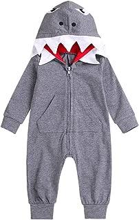Baby Boys Girls Rompers Infant 3D Cartoon Shark Hooded Romper Jumpsuit Zipper Clothes