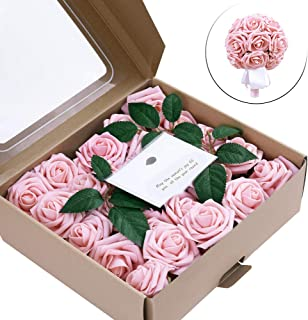 E-ling Artificial Flowers,Real Touch Fake Roses for DIY Wedding Decorations Bouquets Holder,Artificial Foam Roses for Flower Walls or Party Decor or Home Display - 50PCS