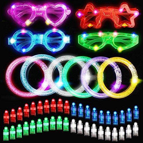 Yodeace Luminosas Juego de Juguete [Ideales para Fiestas], 40 LED de luz de Dedo, 6 Luminosas Pulseras LED y 4 LED Gafas para Fiesta de Cumpleaños, Festival de Música, Fiesta Halloween