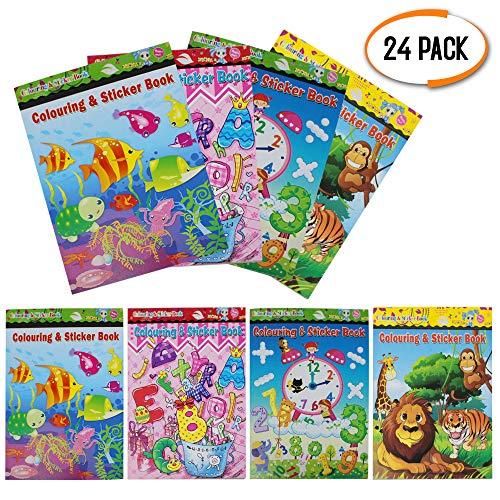 24 Mini Libro de Colorear et Pegatinas - Actividad De Arte Infantil, Cumpleaños Favor Del Partido, Piñata, Materiales Educativos Y Premios Llenadoras De Bolsas De Fiesta Para Niña Y Niños