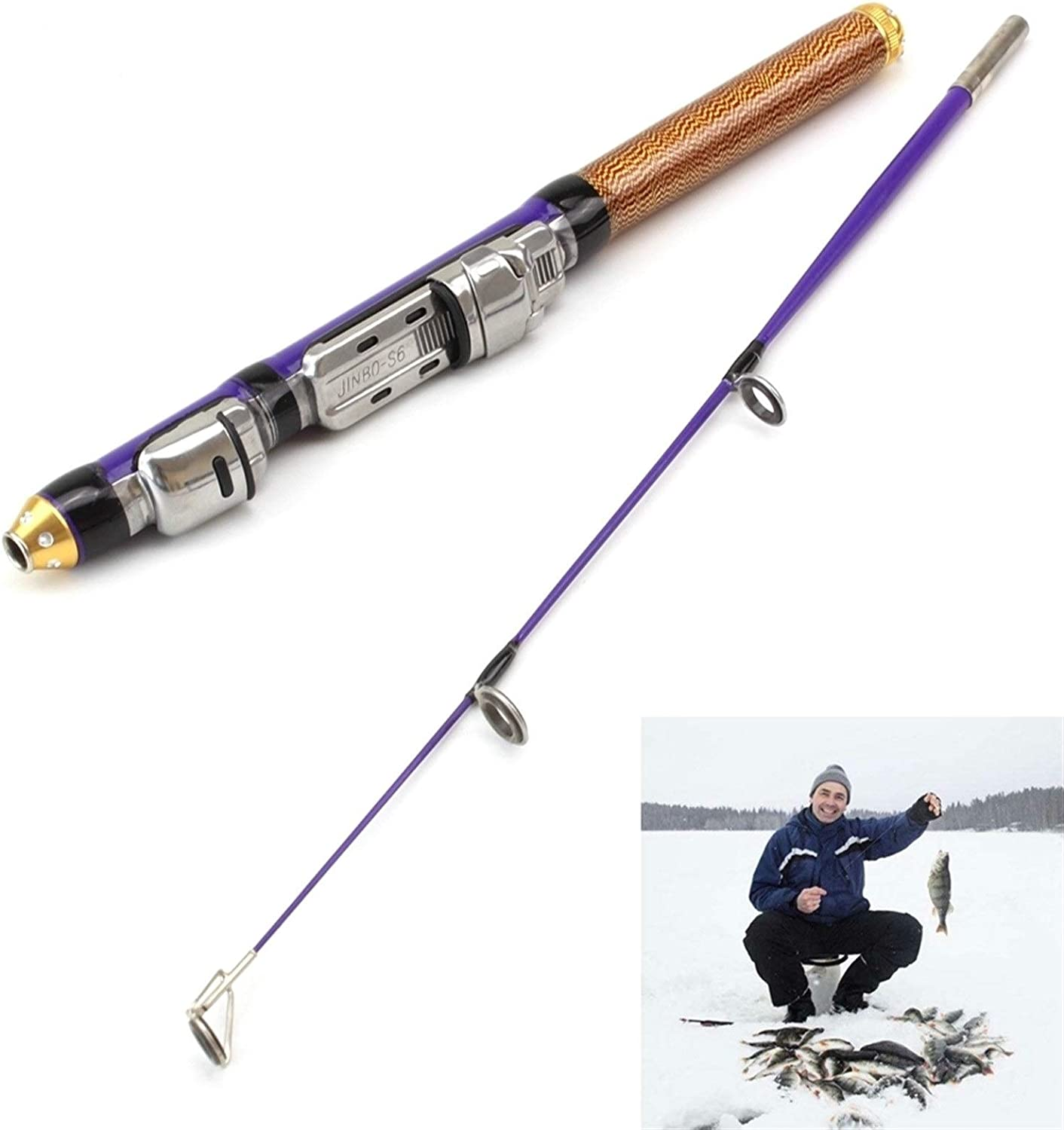 H A New unisex Winter Fishing ice 2 50cm Rod 61g Cross Section Shipping included