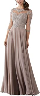 Women's Lace Applique Beaded Mother of The Bride Dress Half Sleeve Long Chiffon Evening Formal Maxi Dress