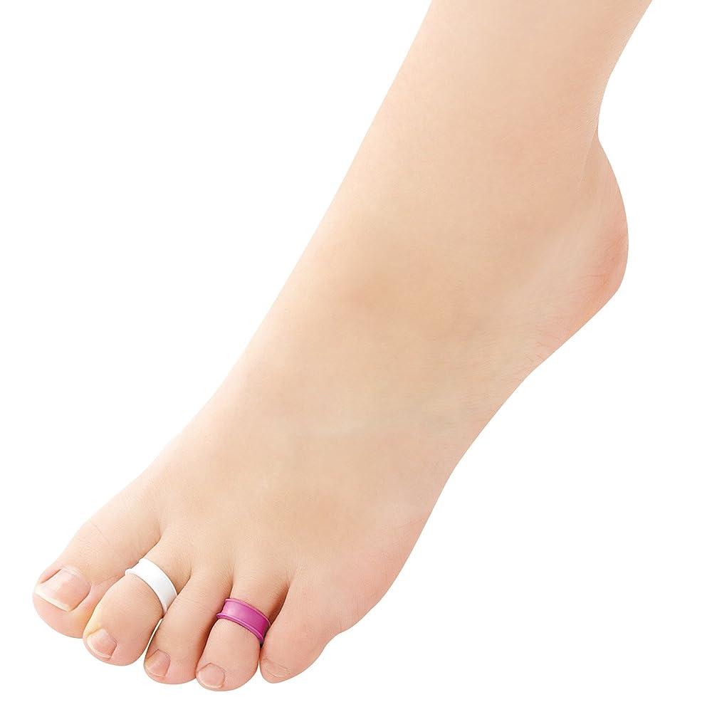舌な生命体くるくる足指リング デオリフレ ピンク&白