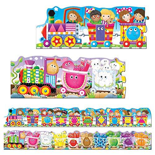 The Learning Journey Puzzle Doubles - Puzzles de Sol géants de Trains Couleurs et Formes, Multicolore