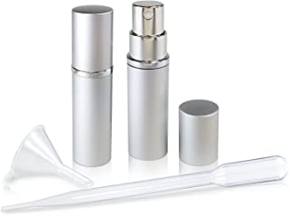 Refillable Perfume & Cologne Fine Mist Atomizers with Metallic Exterior & Glass Interior - 5ml Portable Travel Size - 3ml Squeeze Transfer Pipette Included (2 Pack, Silver)