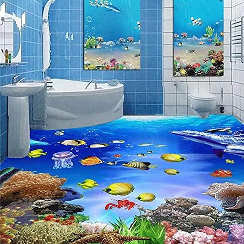 Después de Mural, papel tapiz de suelo 3D, adhesivo estereoscópico 3D para suelo, Seaworld, ropa de pared para baño, suelo autoadhesivo antideslizante 200x140cm