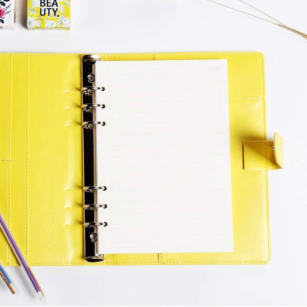 3 Packungen A7 Nachf/üllpapier Nachf/üllbare Refill Paper f/ür Familie 6 L/öcher Gepunktetes Kariert Papier f/ür Notizbuch B/üro /Übungsheft Schule Tagbuch