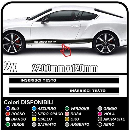 striscia laterale con testo desiderato strisce adesivi fasce laterali decorazione auto strisce adesive stickers decals tuning (NERO OPACO)