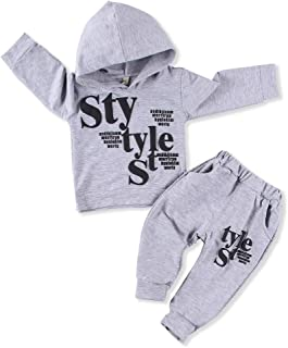 Toddler Kids Baby Boys Clothes Long Sleeve Hoodie Printed Top + Leggings Sweatpants Fall Outfit Set