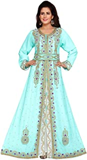 Women's Multicolored Embroidered Kaftan Three Layer