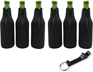 LAGUTE Set of 6 Beer Bottle Sleeves with Bottle Opener, Extra Thick Neoprene Beer Bottle Coozies with Zipper, Anti-stain Plain Design-Black DIY
