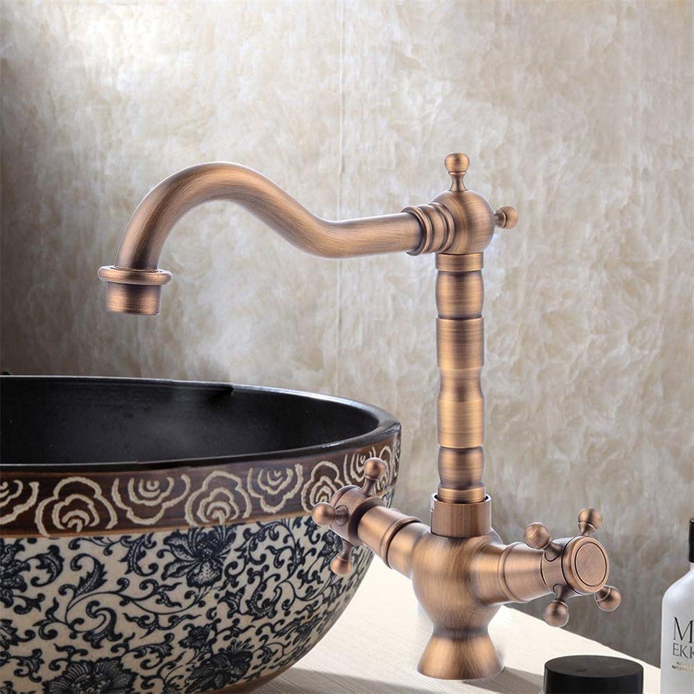 Yiyiby Retro Wash Basin Mixer Tap Cross Handle Brass Nostalgia Kitchen Tap Double Lever Swivel Tap