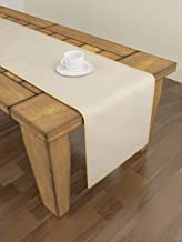 S9home 6 Seater Geometrical Ivory Table Runner 72 x 12 inches with Piping