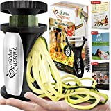 Zucchini Spaghetti Maker Complete Bundle - Best Spiraler Spiralizer with Peeler & Brush - Noddle Zoodler to Spiral Julienne & Fettuccine Pasta Hand Slicer - Low Carb/Keto/Paleo/Gluten Free CookBook