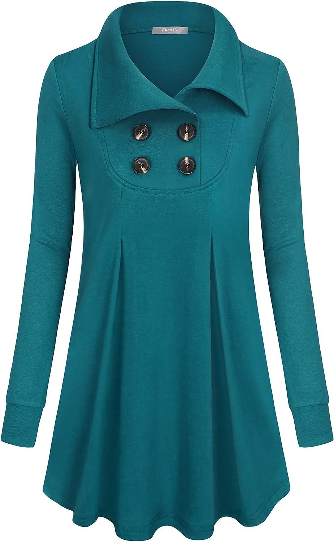 Furnex Women's Long Sleeve Button Down Tunic Tops Lapel Pullover Tunics Sweatshirt