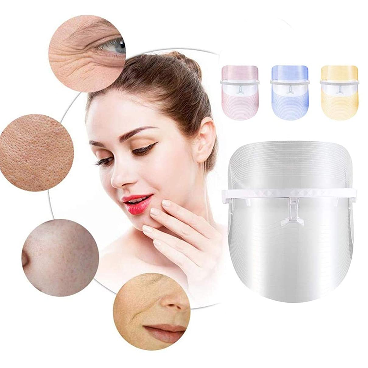 相対サイズ耐えられない大腿3色LEDフェイシャルマスク美容器具光線療法赤青とオレンジの光の収縮孔は顔ケアツールを若返らせる