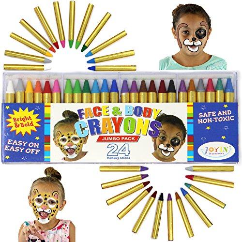 JOYIN Visage Peinture, 24 Crayon Maquillage de 7.6cm Non-Toxiques pour Enfants, Idéal pour Maquillage Carnaval, Maquillage Halloween, Fête d'anniversaire, Cosplay, Noël, Soirées à Thème