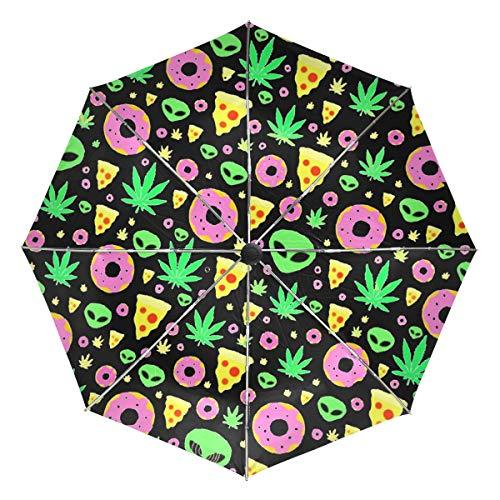 Alien Donut Leaf Weed Pizza Sun&Rain Automatic Umbrella Windproof Travel UV
