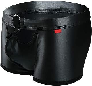 Mens Underwear Boxer Briefs, Low Rise Hollowed O-Ring Men's Bulge Pouch Boxer Panties Black