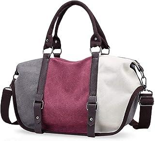 KaiKai KaiKai Weinlese-Frauen Tote Handtaschen-Schulter-Beutel Crossbody-Tasche Reisetasche Große Kapazitäts-Segeltuch Dunkelblau Color : Purple
