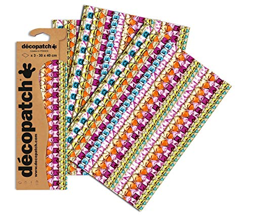 Decopatch Papier No. 630 (violett bunt Schmucksteine, 395 x 298 mm) 3er Pack