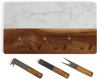 Tabla de madera para queso, mármol con cuchillo de queso, tenedor de queso, tabla de cortar, herramienta para queso (tabla para servir, bandeja para queso, tabla para servir, 35 x 20 cm)