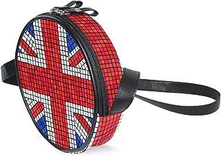 Coosun Umhängetasche mit UK-Flagge, Union Jack, Mosaik, rund, Umhängetasche, Handtasche, Handtasche, Umhängetasche, Schult...