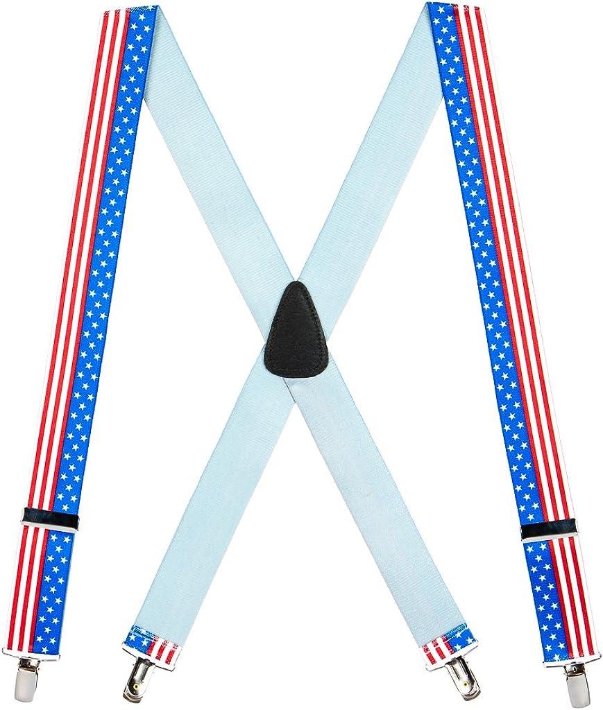 SuspenderStore Men's USA Stars and Stripes Suspenders - 1.5-Inch Wide, Clip