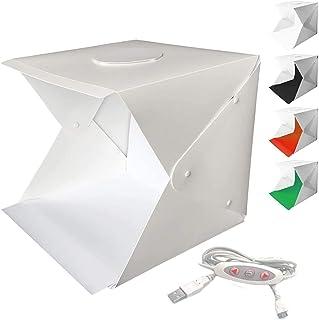 WANBY Fotostudio Zelt, faltbar, tragbar, mit LED Lichtzelt, verstellbare Helligkeit, 2 LED Leuchten und 4 farbigen Hintergrund (30 x 30 x 30 cm)
