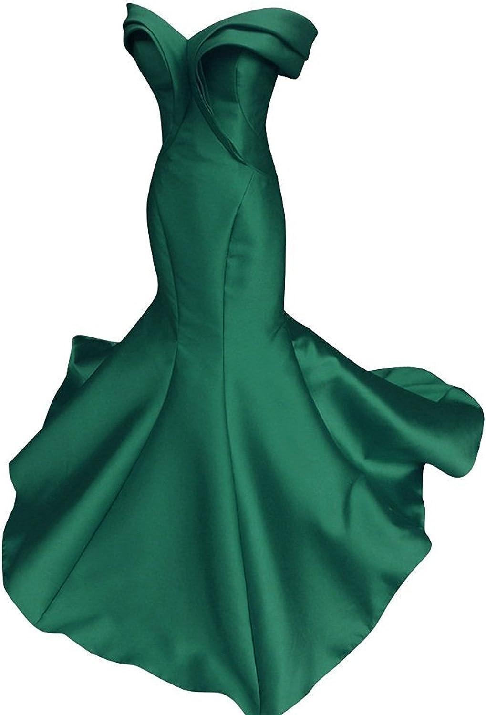 Ellystar Women's Off The Shoulder Satin Mermaid Long New Cap Sleeve Prom Dresses