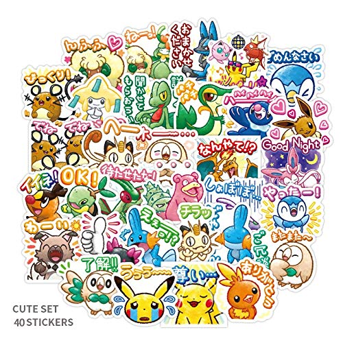 Cartoon Anime Stickers Pokemonal Figure for Decal On Skateboard Fridge Phone Guitar Motorcycle Luggage Waterproof Kawaii 40pcs