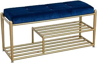 Bixialan Entrada del Banco de Zapatos Tapizados copetudo Asientos corridos Marco de Metal otomana Pierna con Acolchado de Asiento (Azul) (Color : Azul, tamaño : 100x35x48cm)