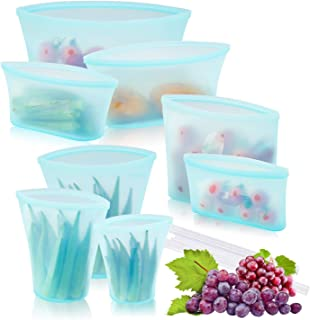 WeTest Upgrade 8 Pack Reusable Silicone Food Storage Bag with Leakproof Zip Lock, Preservation Bag with Slider for Fruits Vegetables Snacks Liquid, Blue