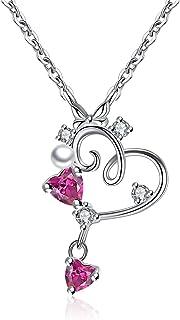 Gemshadow donne ragazze 925sterling Silver CZ Heart Necklace