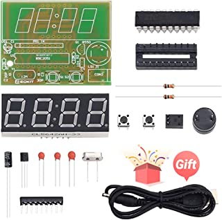 IS Icstation 4-Digit Digital Clock DIY Kits Electronic Soldering Practice Learning Beginner Kid with PCB Board, STC11F02E Master Chip, English User Manual
