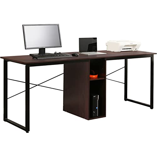 Soges 2 Person Home Office Desk 78 Inches Large Double Workstation Desk Storage Desk Writing Desk With Storage Walnut Hz011 200 Wa Furniture Decor