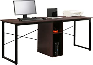 Soges 2-Person Home Office Desk,78 inches Large Double Workstation Desk, Writing Desk with Storage, Walnut HZ011-200-WA