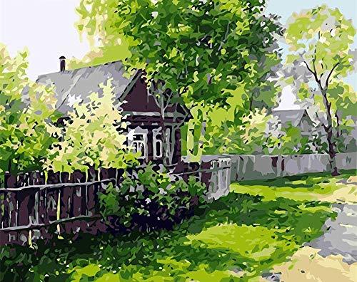 Casa para colorear por números, regalo pintado a mano, pintura DIY por números, kits de lienzo, paisaje forestal, decoración del hogar, A3 40x50cm