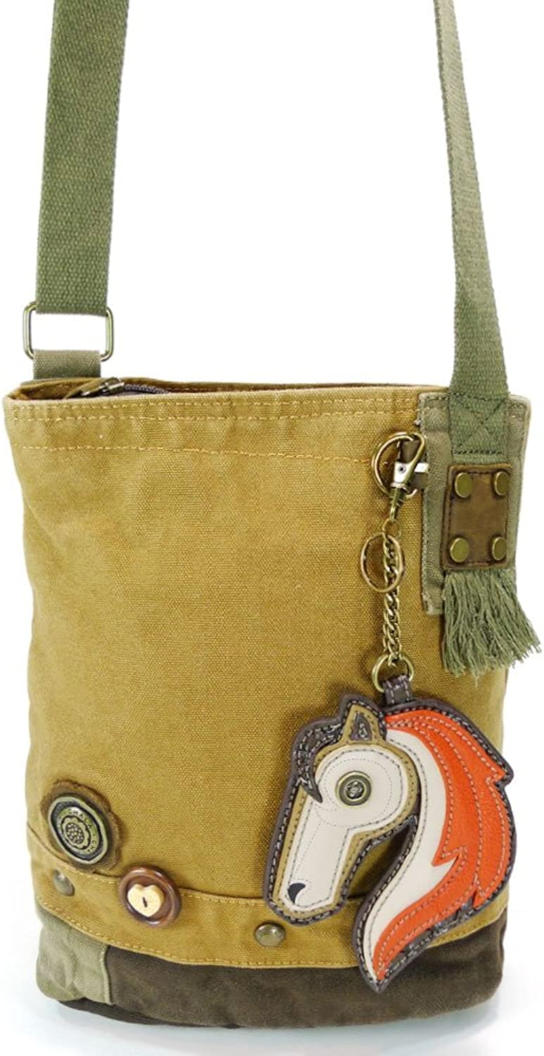 Chala Handbag Patch Crossbody HORSE Bag Canvas Brown