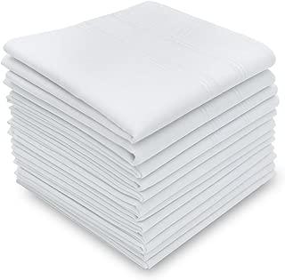 Neatpal Silky Soft Pure White Cotton Men's Handkerchiefs/Hankies, White, Pack of 12